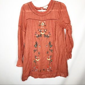 Umgee rust dress floral embroidery sz L lined